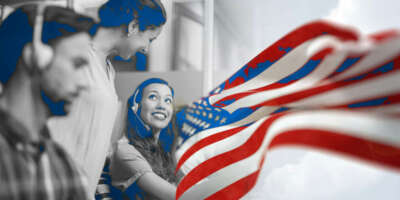 Image of call center agents helping customers and talking to each other smiling, while on the right there is an image of the United States Flag waiving.