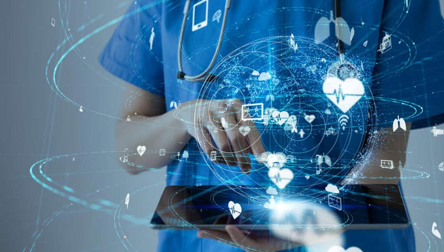 Image of nurse with a tablet on hand and icons of healthcare hover over above the tablet.
